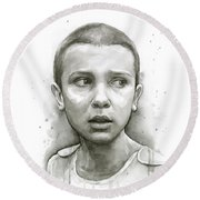 Stranger Things Eleven Upside Down Art Portrait Round Beach Towel