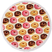 Donut Pattern Round Beach Towel