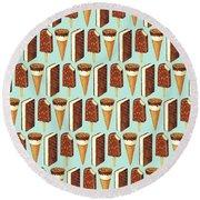 Ice Cream Novelties Pattern Round Beach Towel