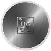 Periodic Table Of Elements - Rhenium Round Beach Towel