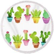 Cactus Plants In Pretty Pots Round Beach Towel
