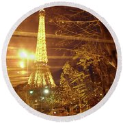 Eiffel Tower By Bus Tour Round Beach Towel