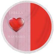 I Hella Love Hayward Ruby Red Heart On Pink Flannel Round Beach Towel