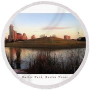 Birds And Fun At Butler Park Austin - Silhouettes 1 Poster And Greeting Card Round Beach Towel