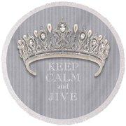 Keep Calm And Jive Diamond Tiara Gray Flannel Round Beach Towel