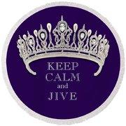 Keep Calm And Jive Diamond Tiara Deep Purple  Round Beach Towel