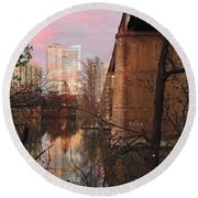 Austin Hike And Bike Trail - Train Trestle 1 Sunset Triptych Middle Round Beach Towel