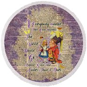 Alice With The Duchess Vintage Dictionary Art Round Beach Towel