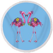 Fancy Felicity Flamingo Round Beach Towel