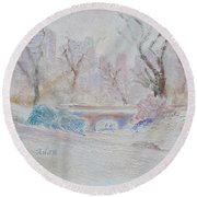 Central Park Record Early March Cold Circa 2007 Round Beach Towel