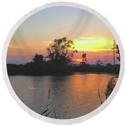 Sunset West Of Myers Bagels Vertical Round Beach Towel