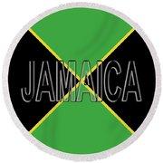 Flag Of Jamaica Word Round Beach Towel