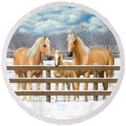 Palomino Quarter Horses In Snow Round Beach Towel by Crista Forest
