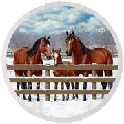Bay Quarter Horses In Snow Round Beach Towel
