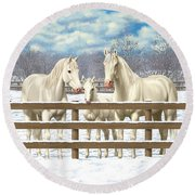 White Quarter Horses In Snow Round Beach Towel