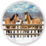 Buckskin Quarter Horses In Snow Round Beach Towel
