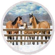Buckskin Quarter Horses In Snow Round Beach Towel by Crista Forest