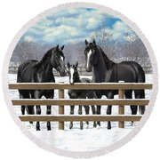Black Quarter Horses In Snow Round Beach Towel by Crista Forest