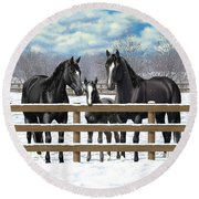 Black Quarter Horses In Snow Round Beach Towel