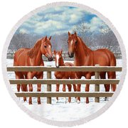 Red Sorrel Quarter Horses In Snow Round Beach Towel by Crista Forest