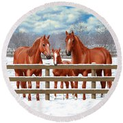 Red Sorrel Quarter Horses In Snow Round Beach Towel