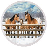 Buckskin Appaloosa Horses In Snow Round Beach Towel by Crista Forest
