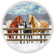 Chestnut Appaloosa Palomino Pinto Black Foal Horses In Snow Round Beach Towel by Crista Forest