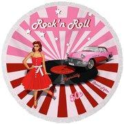 Rock'n Roll The Sweet Fifties Round Beach Towel