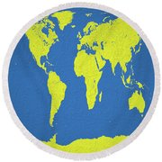 Abstract World Map 0317 Round Beach Towel