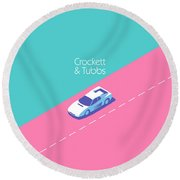 Crockett And Tubbs Retro 80s Round Beach Towel