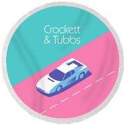 Miami Vice Crockett Tubbs - Aqua Round Beach Towel