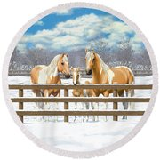 Palomino Paint Horses In Snow Round Beach Towel by Crista Forest