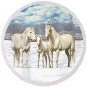 White Horses In Winter Pasture Round Beach Towel