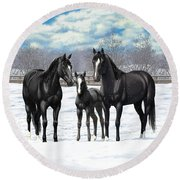 Black Horses In Winter Pasture Round Beach Towel