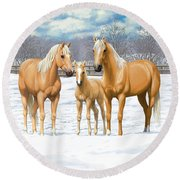 Palomino Horses In Winter Pasture Round Beach Towel