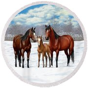 Bay Horses In Winter Pasture Round Beach Towel