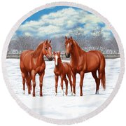 Chestnut Horses In Winter Pasture Round Beach Towel