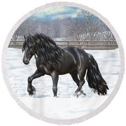 Black Friesian Horse In Snow Round Beach Towel by Crista Forest
