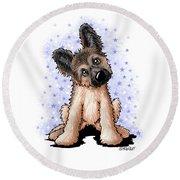 Curious Shepherd Puppy Round Beach Towel
