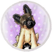 Kiniart Shepherd Puppy Round Beach Towel
