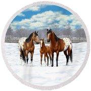 Bay Appaloosa Horses In Winter Pasture Round Beach Towel