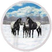 Black Appaloosa Horses In Winter Pasture Round Beach Towel