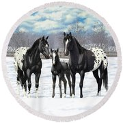 Black Appaloosa Horses In Winter Pasture Round Beach Towel
