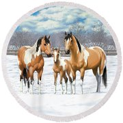 Buckskin Paint Horses In Winter Pasture Round Beach Towel by Crista Forest