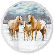 Palomino Appaloosa Horses In Winter Round Beach Towel