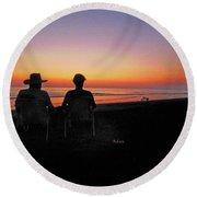 la Casita Playa Hermosa Puntarenas Costa Rica - Sunset Happy Couple Round Beach Towel