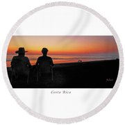 la Casita Playa Hermosa Puntarenas Costa Rica - Sunset Happy Couple Panorama Poster Round Beach Towel