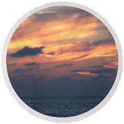 Yellow Sunset Round Beach Towel