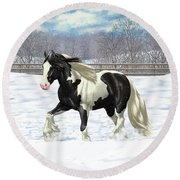 Black Pinto Gypsy Vanner In Snow Round Beach Towel by Crista Forest
