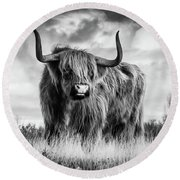 Highland Bull Round Beach Towel